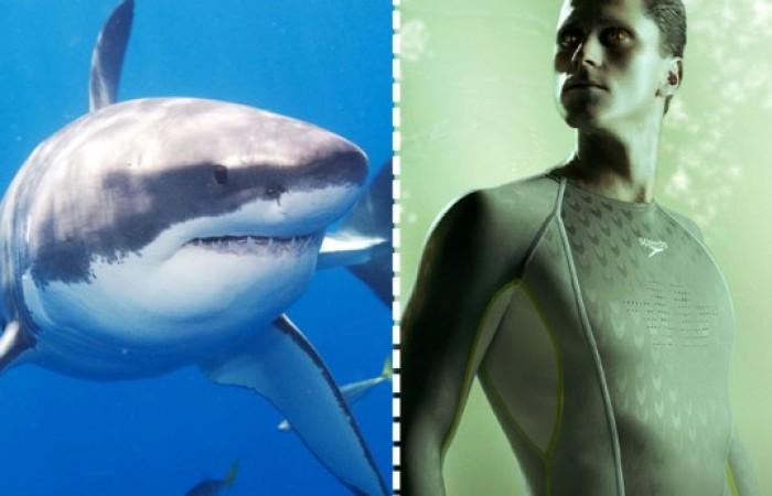 il costume di speedo imita invece la texture della pelle dello squalo