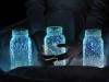 Bottiglie dipinte con vernice fosforescente