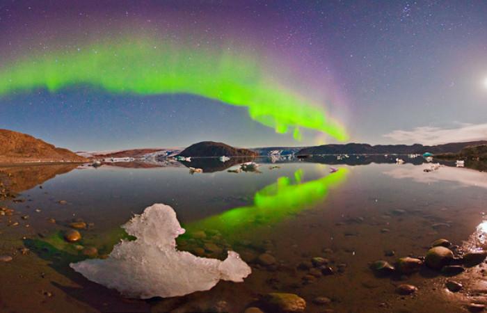 aurora nel cielo della Groenlandia