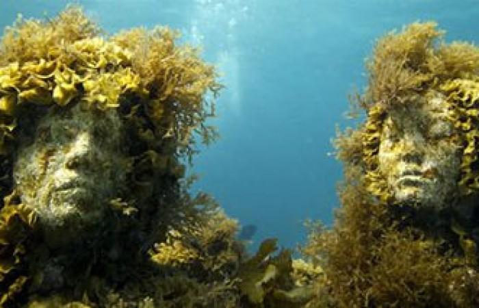 le sculture sono coperte di alghe