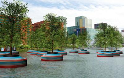 Nel porto di Rotterdam ideata foresta galleggiante